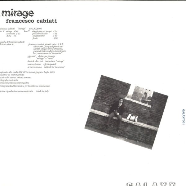 Francesco Cabiati's sole album Mirage is mostly a primitive synthesizer affair with some rock trimmings. Comparisons to like minded artists such as Francesco Buccheri and Baffo Banfi would not be out of place. The synthesizers of choice were modern for the day, but sound fairly thin to modern ears I'm afraid, with the exception of the odd Moog solo. I find music like this charming and exploratory, though not necessarily mandatory. Worth seeking out for a listen or 2, and those who specialize in 70s primitive electronics will enjoy it even that much more.