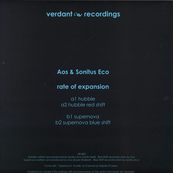 Verdant Recordings 3rd EP is a collaboration between the rising talent Aos and Sonitus Eco. A debut release on vinyl for Aos who has previously released digitally on Blankstairs with the enchanting 90 East minialbum. Sonitus Eco should be well know for his own Harr label and for his majestic ambient and dub techno projects with Silent Season.